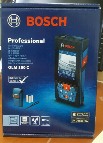 environ 7.11 cm Bosch GLM 150 C Professional 150 M ± 1.5 mm LCD 2.8 in IP54 Bluetooth 1.5AA 230 G UPS