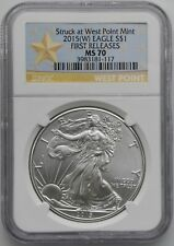 W NGC MS70 SILVER EAGLE STRUCK AT WEST POINT FIRST RELEASES STAR LABEL 2015
