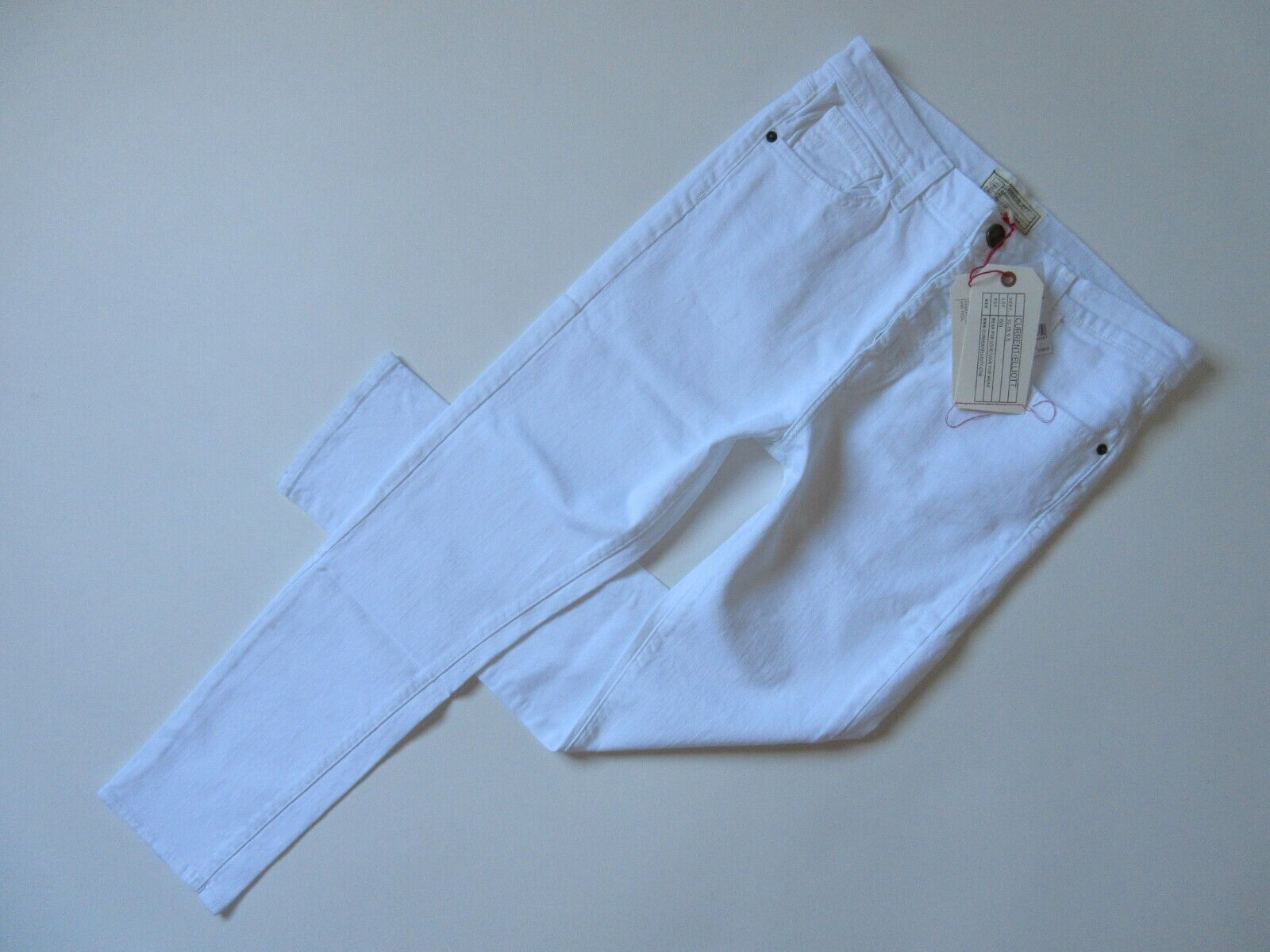 NWT Current Elliott Slouchy Skinny in Sugar White Buttonfly Stretch Jeans 28