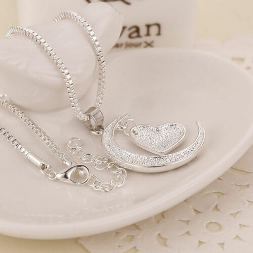 I Love You To The Moon And Back Crescent Heart Silver Valentines Day Necklace
