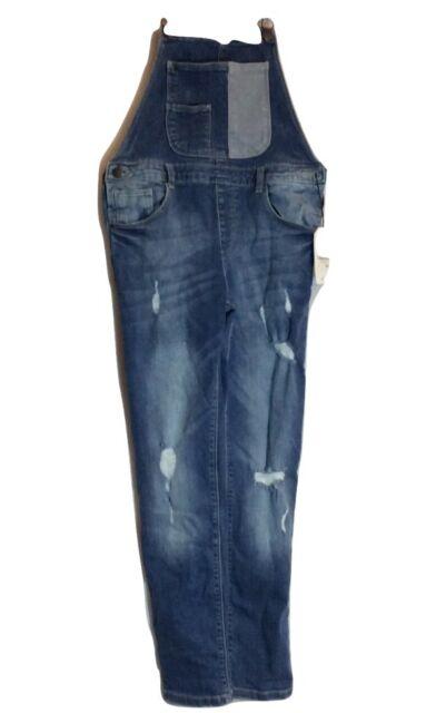 NWT Zara Girls Distressed Jean Overalls Sz 11-12 Blue