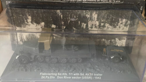 """1942/"""" 1//72 DIE CAST TANK /""""FLAVIERLING SD.KFZ 7//1 TRAILER 24 DON RIVER SECTOR"""