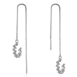 3974245a7 Image is loading Womens-Fashion-925-Sterling-Silver-Zircon-Long-Tassel-