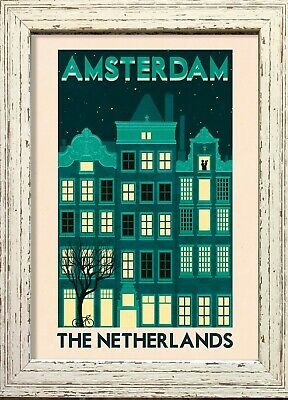 Vintage Travel POSTER.Home Interior Design.Amsterdam.Bedroom Room art Decor.521