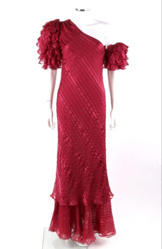 Vtg JUDY HORNBY Couture c.1980's Burgundy Red Silk