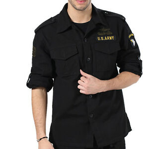 Men-039-s-Army-Jacket-Military-Fans-Long-Sleeve-Shirt-Cotton-Air-Force-Coat-S-3Xl