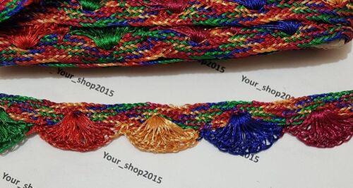 1 Yard Beautiful embroidered Rainbow Mix lace trimming ribbon Net Wedding dress