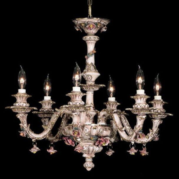 NEW CAPODIMONTE Chandelier w 6 Lights braun Gold or Weiß Gold, Made in
