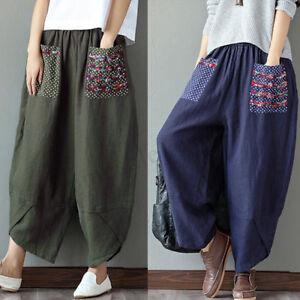 f95eaaba12 ZANZEA Women Elastic Waist Wide Legs Loose Ethnic Floral Print Pants ...