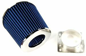 BMW-318i-E30-E36-84-91-AIR-FILTER-INDUCTION-KIT-3-034-ALLOY-MAF-INTAKE-ADAPTER-BLUE