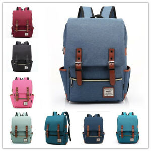 Girl-Women-Men-Canvas-Leather-Travel-Backpack-Satchel-Rucksack-Laptop-School-Bag