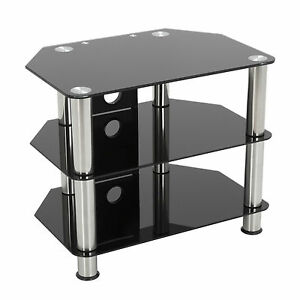 king tv mobel fernsehtisch fur 12 32 zoll schwarz glas mit silber stand 60cm ebay. Black Bedroom Furniture Sets. Home Design Ideas