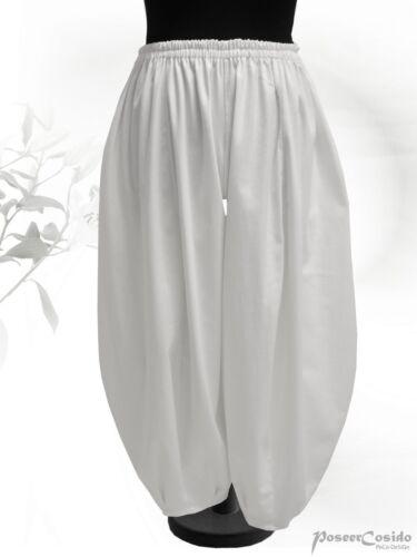 PoCo DeSiGn Lagenlook Ballon-Hose weiß Leinen L-XL-XXL-XXXL 44 48 50 52 54 56 58