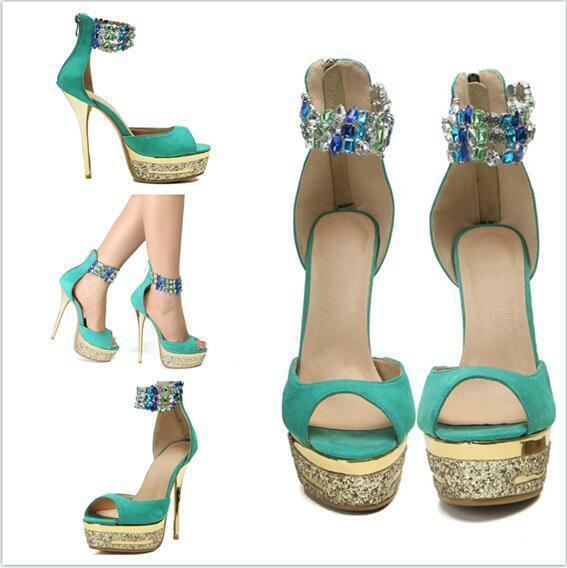 2019 New Women Sandal shoes Stiletto Heel Rhinestone Stylish Platform Zip Club
