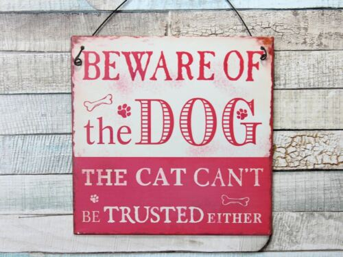 Red or Blue Beware Of The Dog. Cat Can/'t Be Trusted Metal Plaque Sign