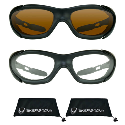 MOTORCYCLE SUNGLASSES Ultra WRAP Foam Cushion Biker Glasses SKY DIVING Goggles