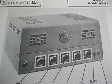 MASCO MA-75 TUBE AMP AMPLIFIER PHOTOFACT