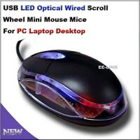 3D USB 800 DPI Optical Scroll LED Wheel Mouse For PC Computer Laptop Mac - Black