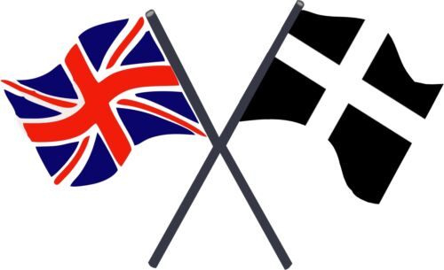 Motorsport Exterior Vinyl Decal UK /& Cornwall Kernow Crossed Flags Stickers x 2
