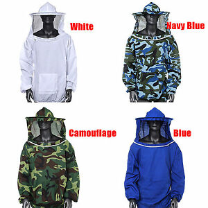 Beekeeping Bee Integrated Veil Hood Protection Jacket Smock Protective Free Size