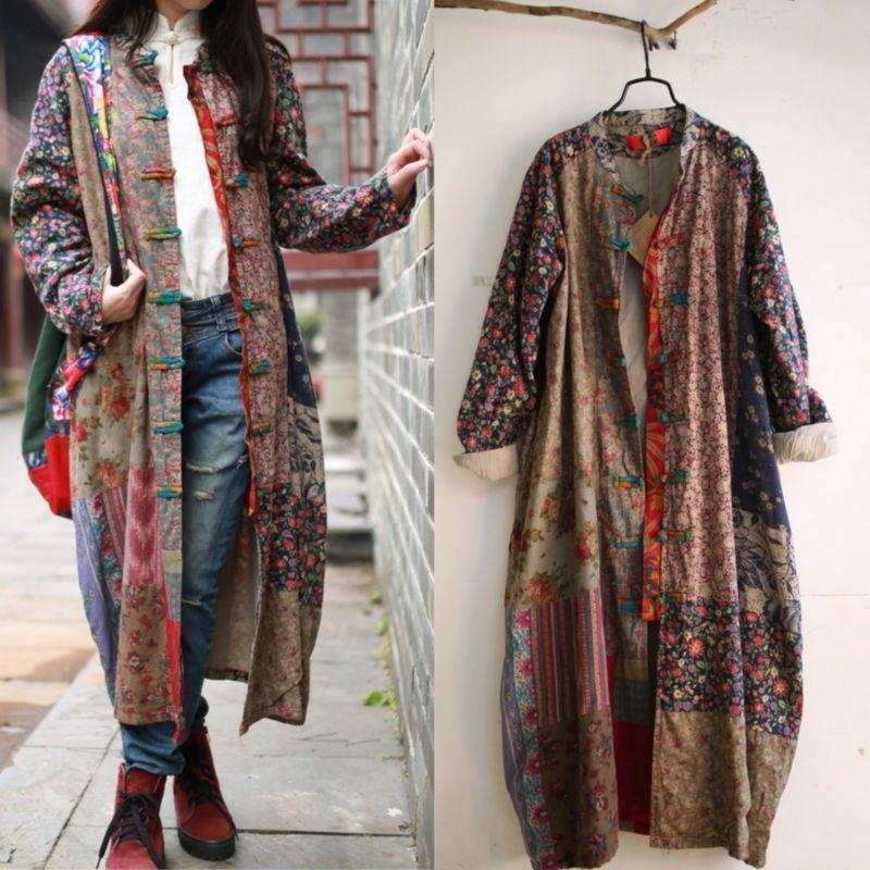 100% Cotton Linen Folk Art Women Maxi Long Button Floral Loose Qipao Dress Coat