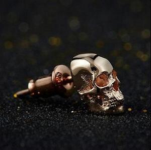 Retro 925 Silver Skull Ear Stud 24K Red Gold Earrings Eardrop One Piece Gift