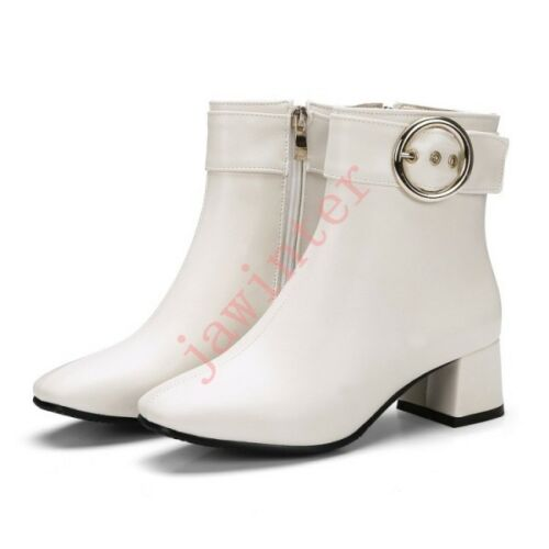 womens comfort square toe ankle boots buckle strap chunky block heel Shoes sz
