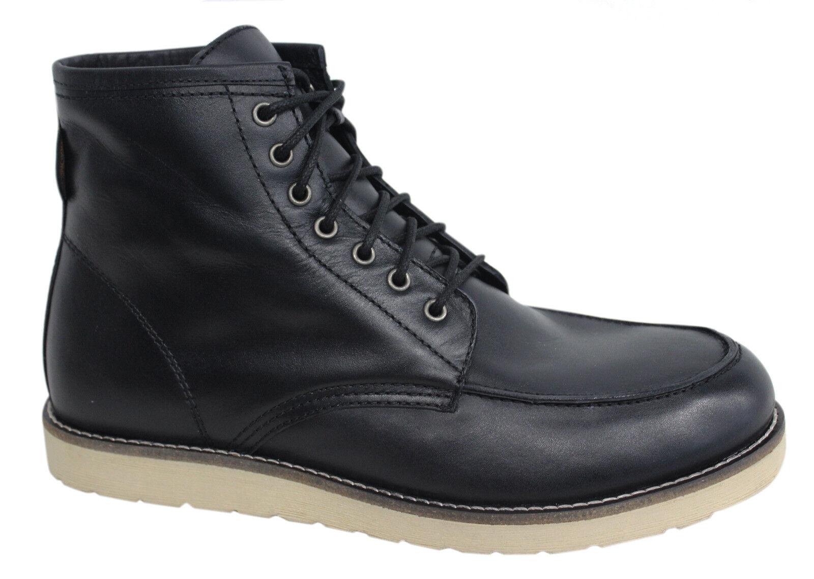 Ben Sherman Lace Up Black Mens Leather Boots Americana Black 014 U128