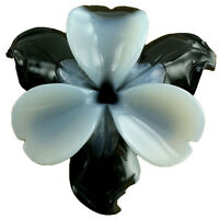 Carved Stone Flower 2-tone Grey And Black Agate 40mm (1 Pc) Jewelry Making