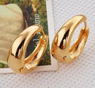 Smooth 9K Real Yellow Gold Filled Ladies Hoop Earrings ,NO allergic F3828