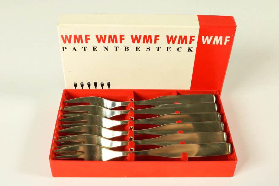 6 TORTA FORCHETTE WMF serie 3600 carrello Wilhelm campo 90er argento nella scatola originale