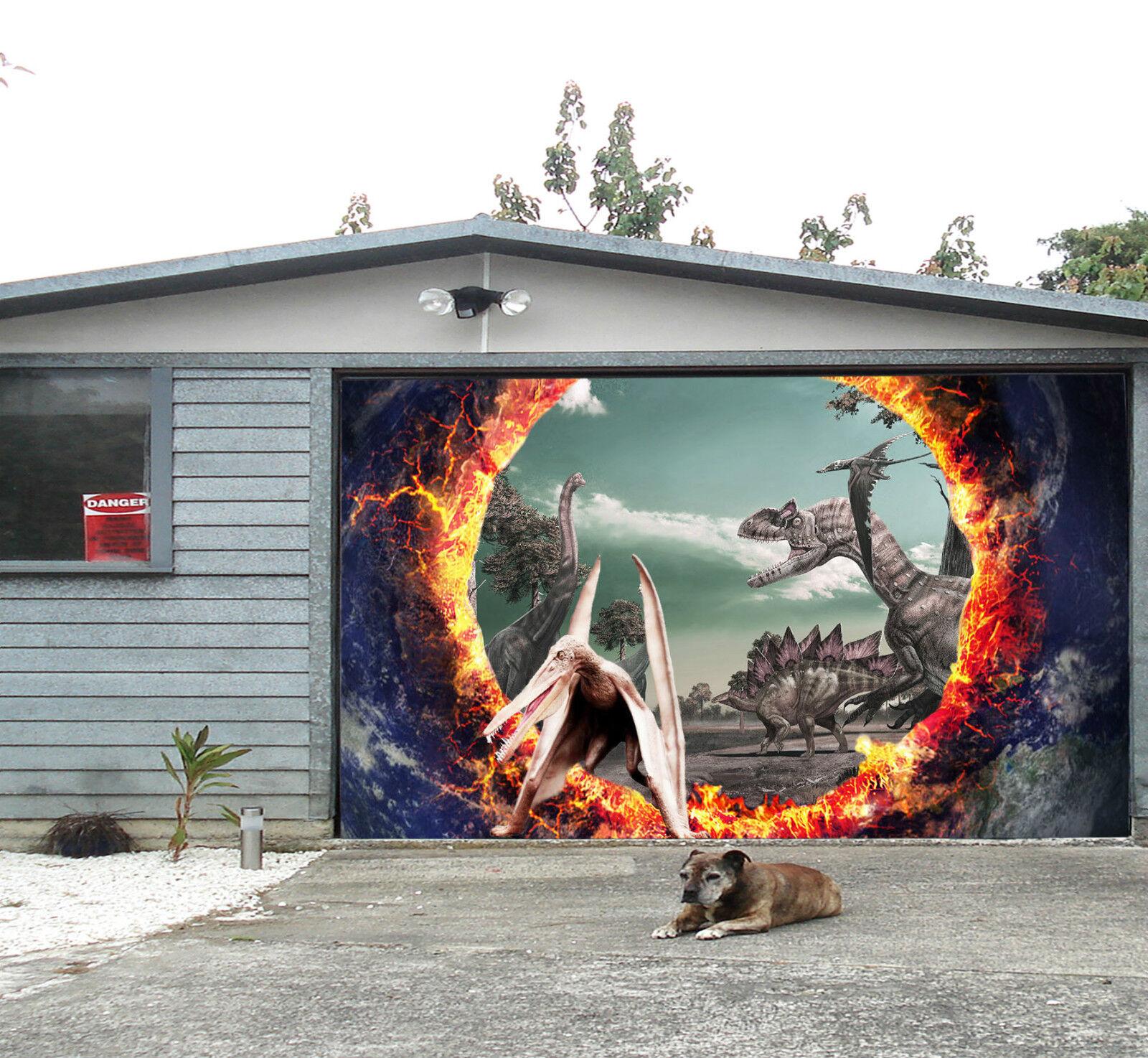 3D Dinosaur Era 04 Garage Door Murals Wall Print Decal Wall Deco AJ WALLPAPER IE