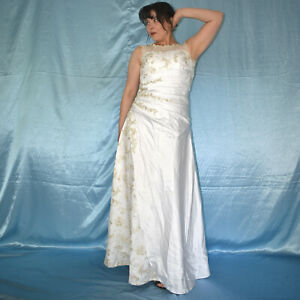 Lurex-Glitter-Embroidery-at-Wedding-Gown-XS-34-Satin-Dress-Prom-Dress