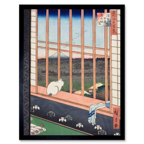 Hiroshige Asakusa Fields 100 Views Edo Cat Vintage Japan Painting Print Framed