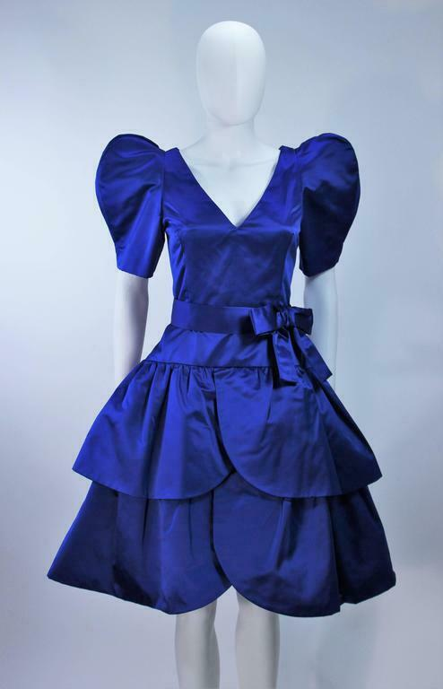 ARNOLD SCAASI Blue Satin Cocktail Dress with Bow … - image 7
