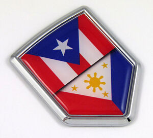 Puerto Rico Rican flag Chrome Emblem 3D auto Decal car bike boat 5.3