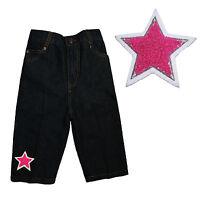 Infant Baby Girl Toddler Denim Woven Jeans W/ Chenille Fuchsia Pink Star 12m-3t