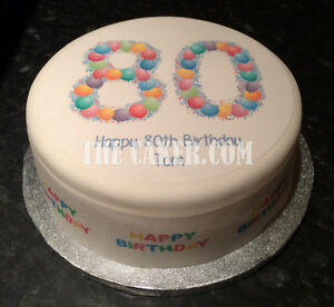 Image Is Loading Personalised 80th Birthday Balloons Pre Cut Edible Icing