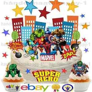 Birthday Hulk 7 Inch Edible Image Cake /& Cupcake Toppers// Party Superhero