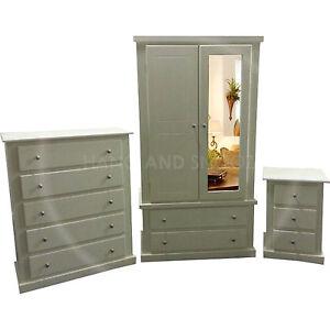 Hand Made Dewsbury Furniture 3 Piece Mirrored Bedroom Set Ivory Assembled Ebay