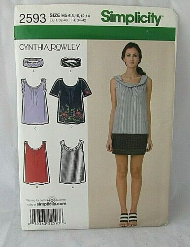 Simplicity 2593 Misses Cynthia Rowley Blouse Pattern Tank Top T-Shirt Sizes 6-24