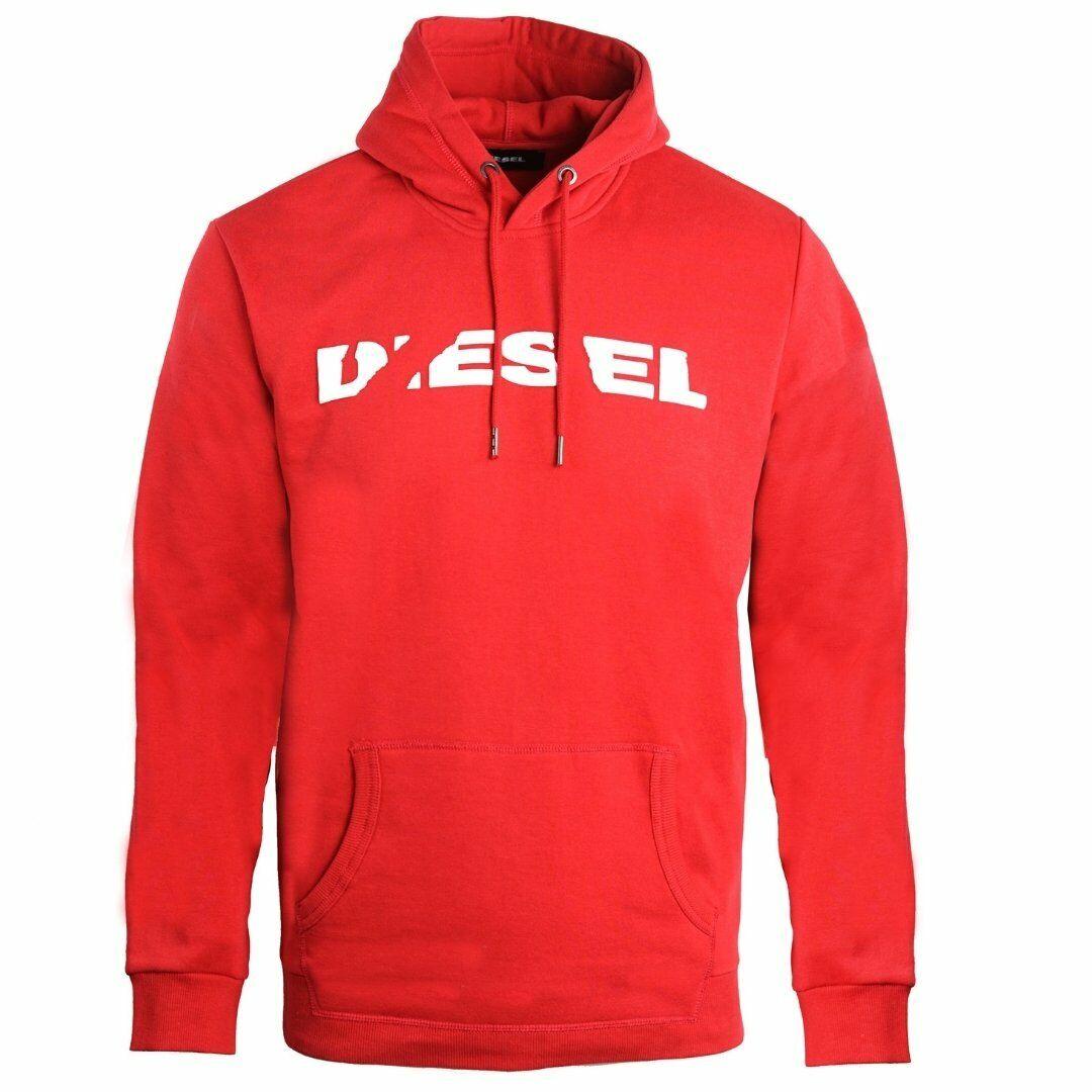 Mens Diesel Hoody Hoodie Sweatshirts Jumper Top Pullover S Crew Div Red Logo