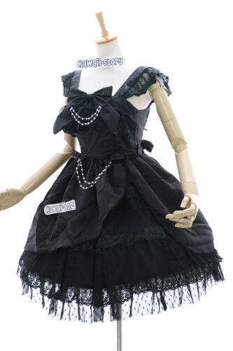 l Kostüm Lolita Stretch S Dress Schwarz Jl Kleid Costume m xl Cosplay 557 qtZfwHB