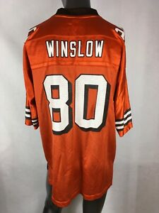 online store bafa9 6850c Details about Vintage Kellen WInslow # 80 Cleveland Browns Jersey REEBOK  Brown/Orange Sz Large