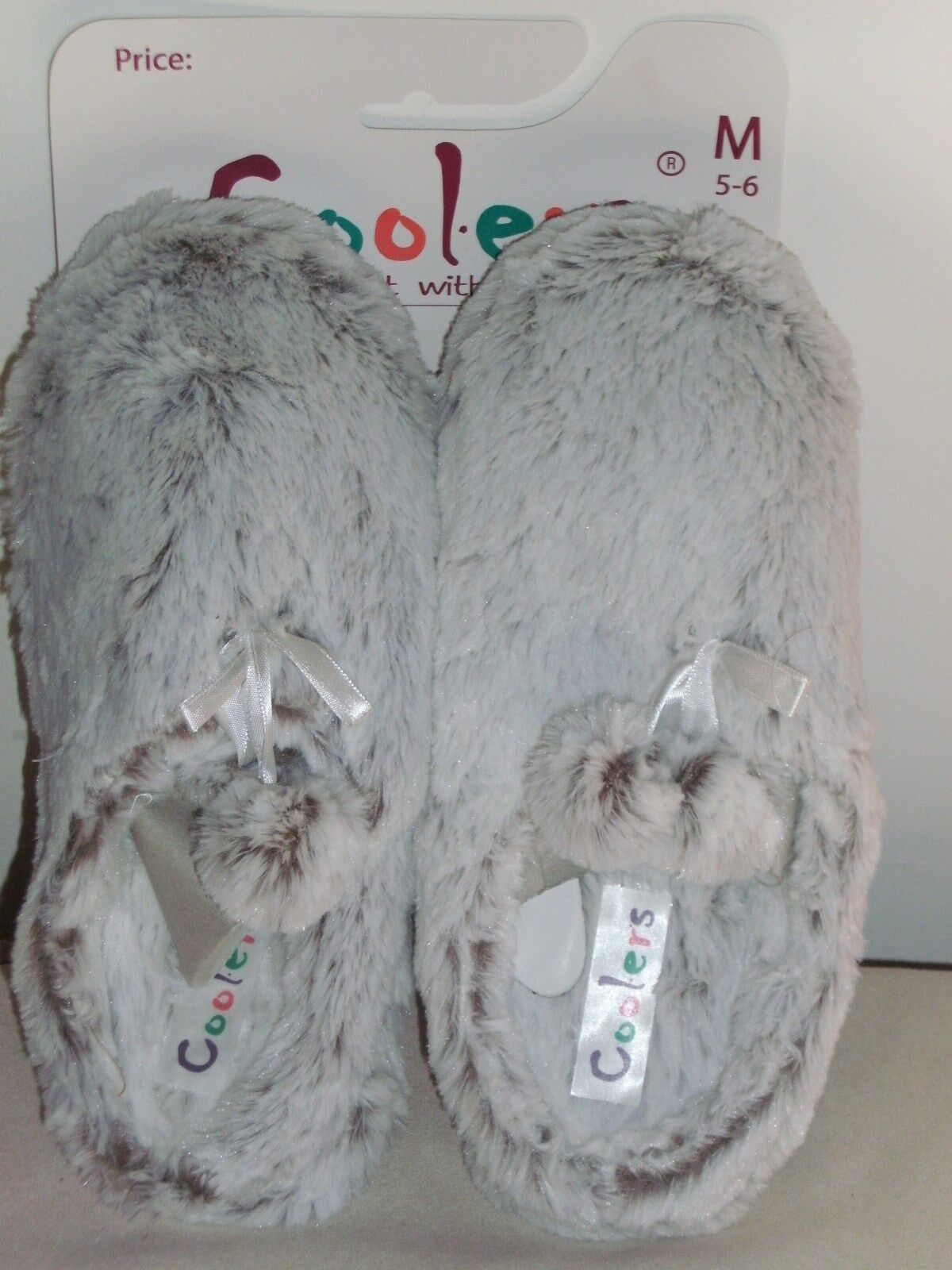 BNWT-Ladies Slippers-Coole<wbr/>rs-Super Soft Grey Faux Fur Mules with Durable Sole