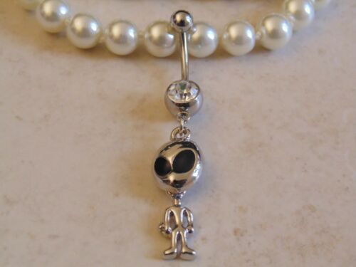 Alien Dangle With A Round Cubic Zirconia Navel//Belly Ring.