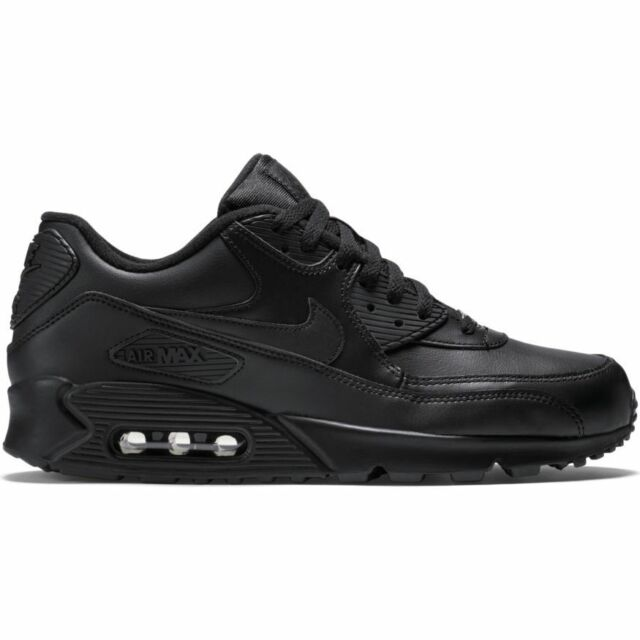 Nike Men's AIR MAX 90 LEATHER Shoes Black 302519 001 b