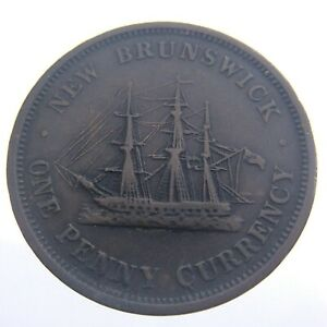 1854 New Brunswick One 1 Penny Token Copper Circulated KM 4 Ensign Victoria T890