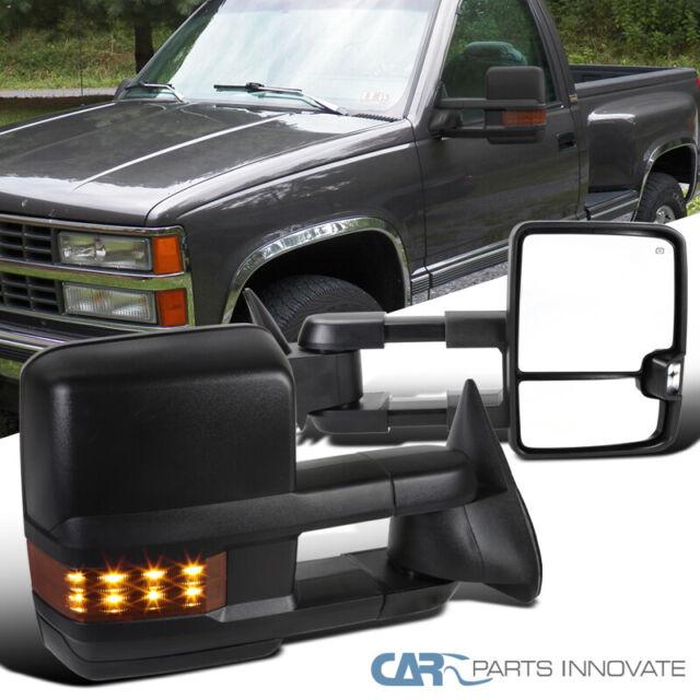 For 03-06 Chevy Silverado Suburban Tahoe GMC Sierra Yukon Pickup Truck Extending Power Heated Tow Mirrors w//Smoked Signal