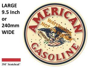 VINTAGE AMERICAN GASOLINE DECAL STICKER LABEL 9.5 INCH DIA 240 MM HOT ROD